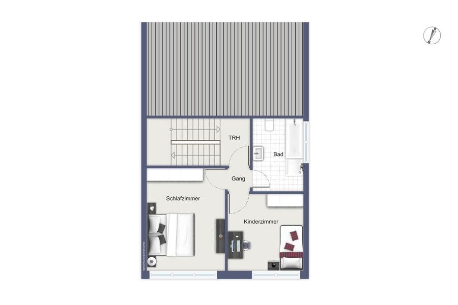 Natur pur und stadtnah - Grundriss vom Obergeschoss