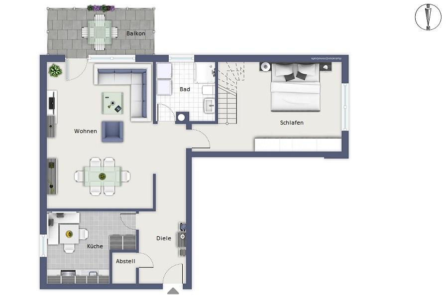 Nette Maisonette - Wohnen in Veitshöchheim - Grundriss der Wohnung